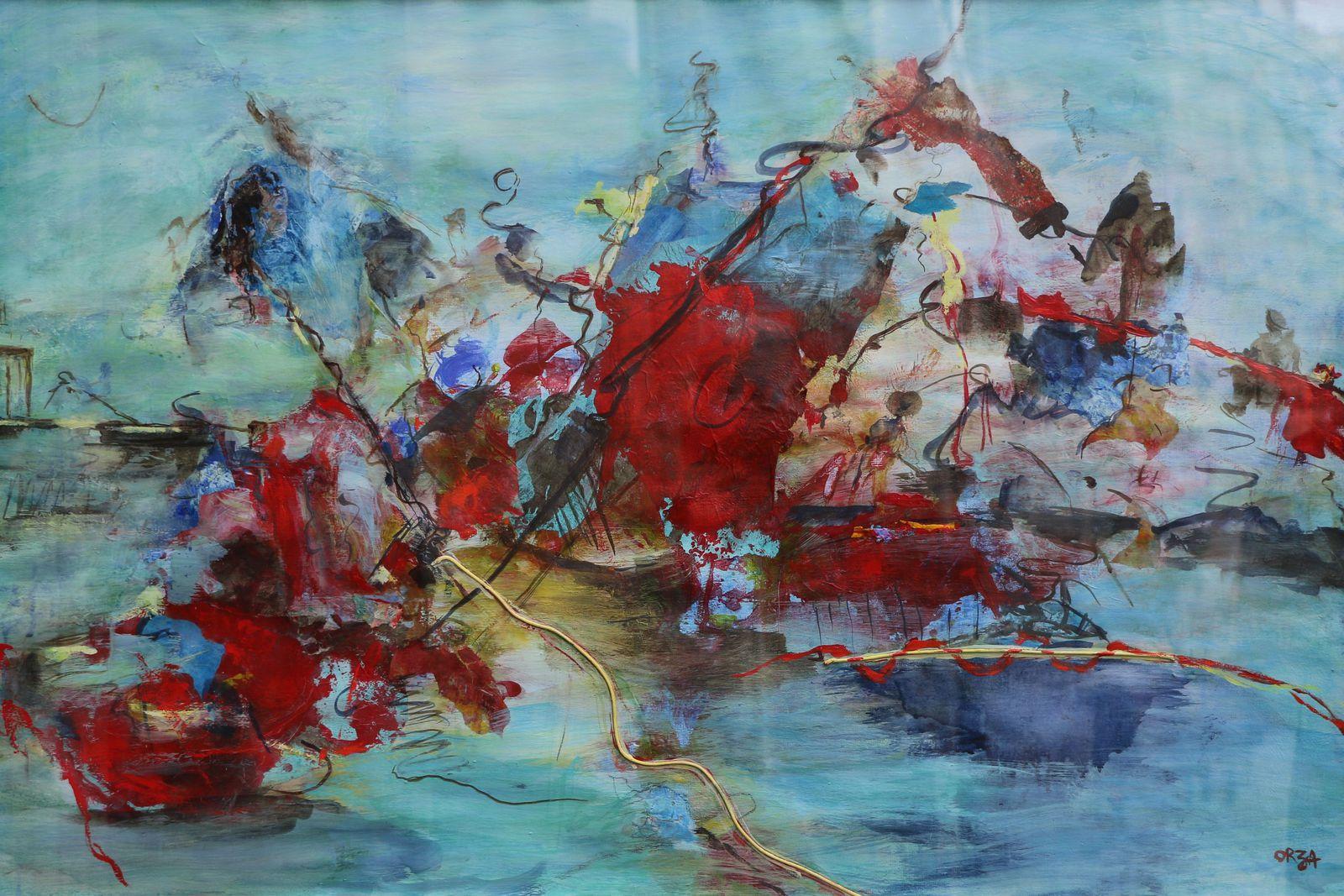 Le Radeau Des Migrants, Peinture mixte