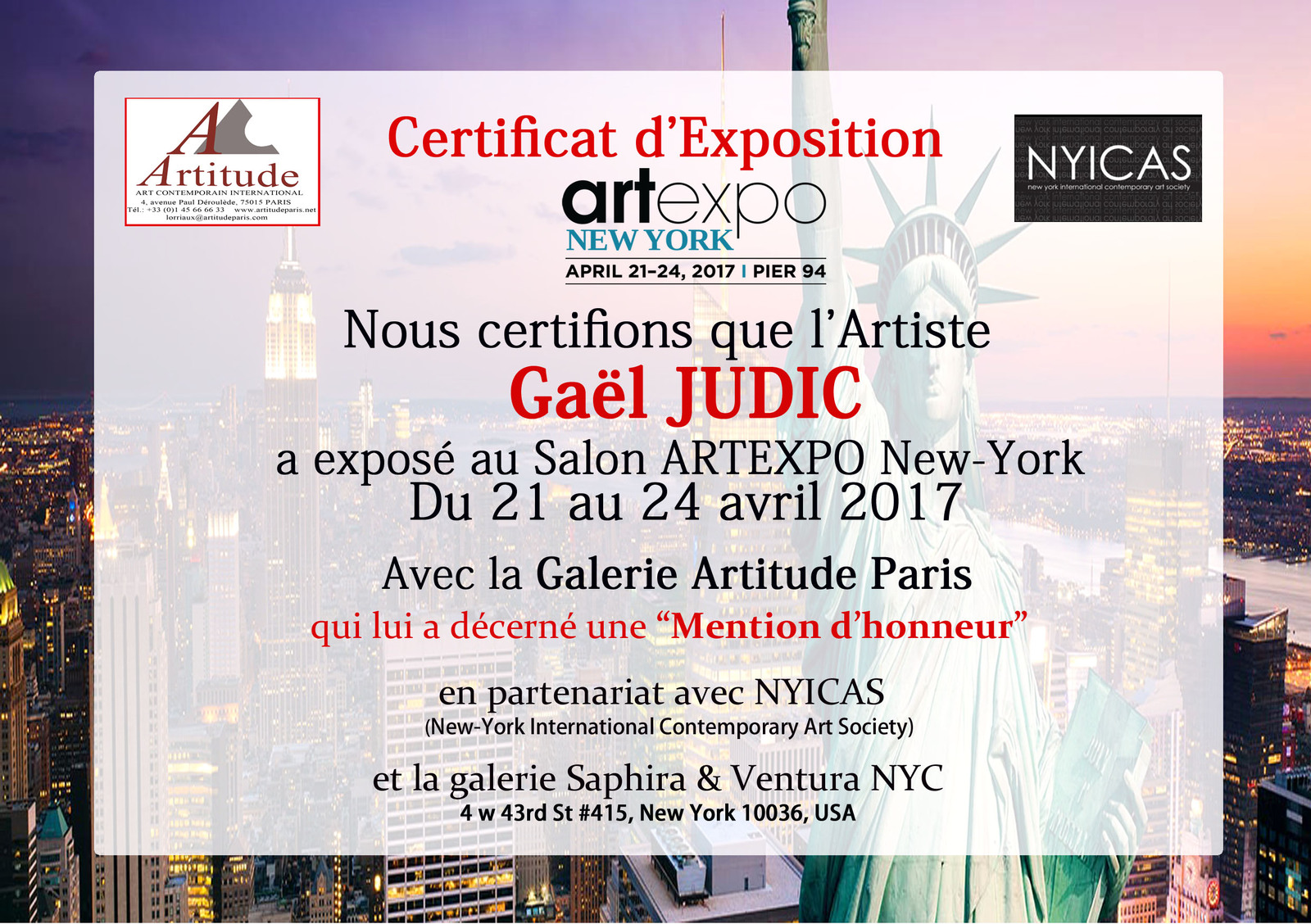 Mention d' honneur à ARTexpo New York 2017