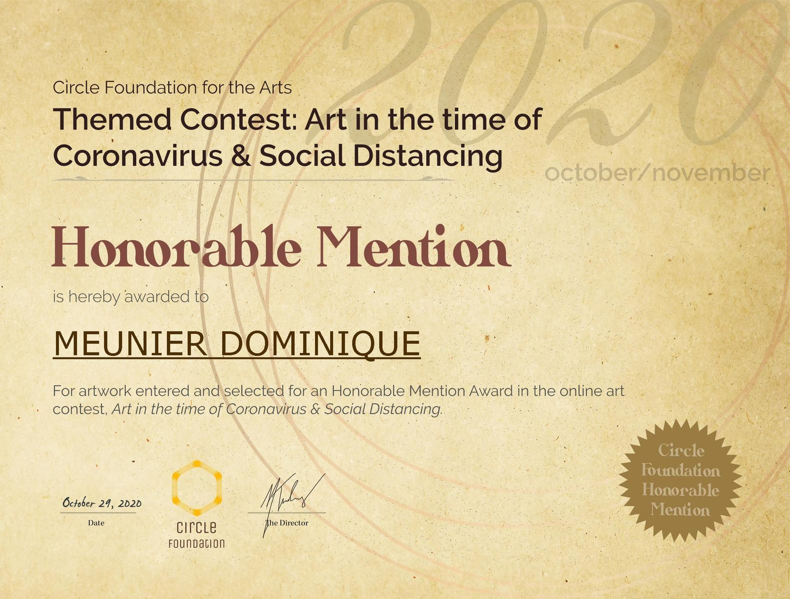 Mention honorable concours Fondation Circle
