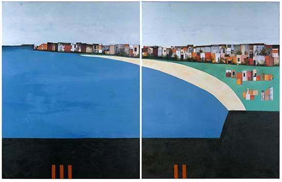 La dolce vita Collage et huile sur toile 90x140 cm